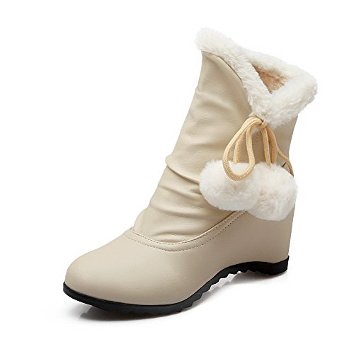 Allhqfashion Women's Pull-on Round Closed Toe Kitten-Heels PU Low-top Boots Beige prVUXoCFD0