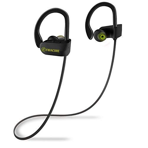 Bluetooth Headphones, FIRACORE Sports Wireless Headphones Bluetooth Earphones IPX7 Waterproof Earbuds with Mic, HD Stereo, Heavy Bass, Noise Cancelling Headsets for Running Workout Gym