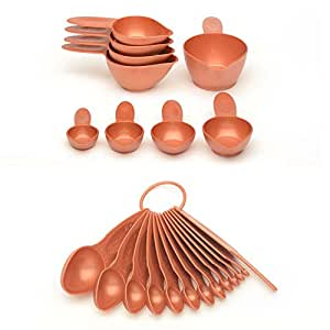 22 Piece Satin Copper Spoon And Cup Set, Plastic Material, Dishwasher Safe Care Instruction, 9 Inch Long x 6 Inch Wide x 4 Inch Deep, Essential Measuring Tools, Simple Look