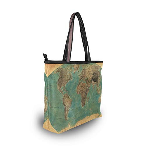 Tote for Bags Bag Shoulder Women World Vintage Large Map Handbag Beach w7UYgUzqx