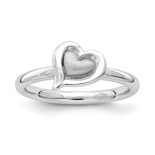 UPC 886774251257, Sterling Silver Rhodium Heart Ring Size5 #2798