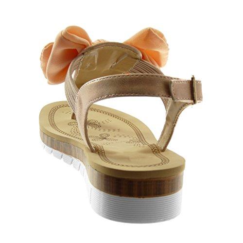 Angkorly Women's Fashion Shoes Sandals Flip-Flops - Ankle Strap - Sneaker Sole - t-Bar - Knot - Node - Glitter - Elastic Wedge Platform 3.5 cm Pink CeXNH