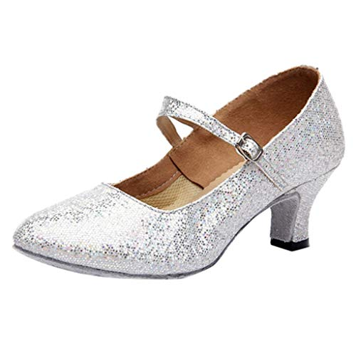 White Heeled Sandals for Women,FAPIZI Lady Mid-High Heels Glitter Dance Shoes Ballroom Latin Tango Rumba Shoes