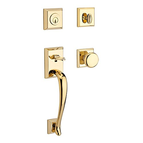 Finish Traditional Brass - Baldwin SCNAPXROUTSR003 Reserve Single Cylinder Handleset Napa x Round with Traditional Square Rose in Lifetime Brass Finish