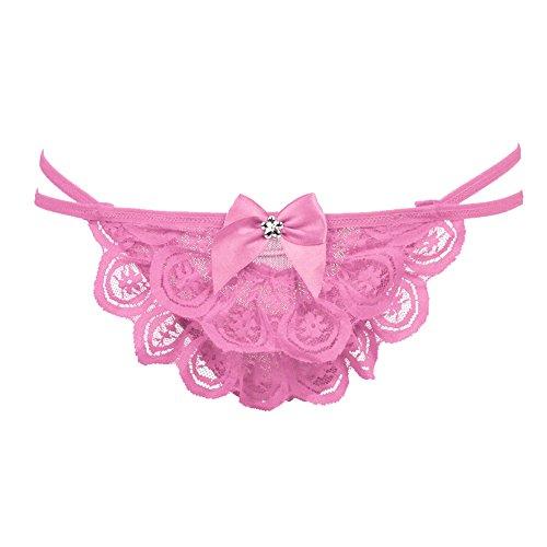 FINEJO Women's Sexy Panties Open Crotch Cage Tie Tongs G-string Lingerie underwear Pink