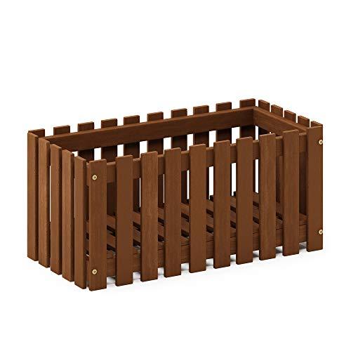 (Furinno FG18453 Tioman Hardwood Patio Furniture Outdoor Slat Style Flower Planter Box, Natural)