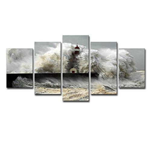 Natural Lighthouse Accent Outdoor (ChuangYing Home Decoration Living Room Wall Art Background Lighthouse Dam Reservoir Seaview Painting Wall Sticker)