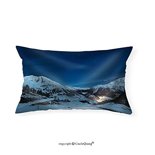 VROSELV Custom pillowcasesAerial View of La Thuile Village Glowing in the Night Famous Ski Resort in Aosta Valley Italy. - Fabric Home Decor(16''x20'') by VROSELV