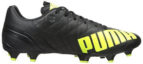 Puma Heren Evospeed 3.4 Lth Fg Sneaker Zwart / Safety Yellow