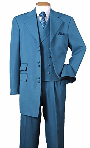 Fortino Landi Solid Zoot Suit With Double Breasted Vest 2917-Turquoise-42R