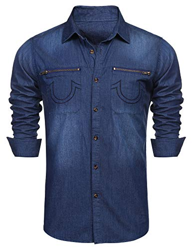 COOFANDY Men's Western Button Down Shirt Casual Long Sleeve Regular Fit Embroidered Zipper Pockets Denim Shirt