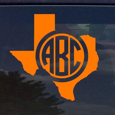 - Texas Custom Circle Monogram Initials Vinyl Decal Sticker for Cars YETI Cup Laptop (3