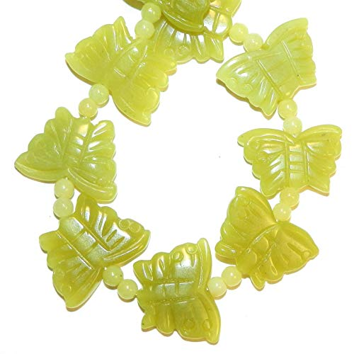 Green New Jade 21mm Carved Butterfly Spacer Serpentine Gemstone Beads #ID-6252