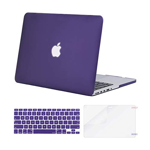 MOSISO Case Only Compatible with Older Version MacBook Pro Retina 13 inch (Models: A1502 & A1425) (Release 2015 - end 2012), Plastic Hard Shell Case & Keyboard Cover & Screen Protector, Ultra Violet