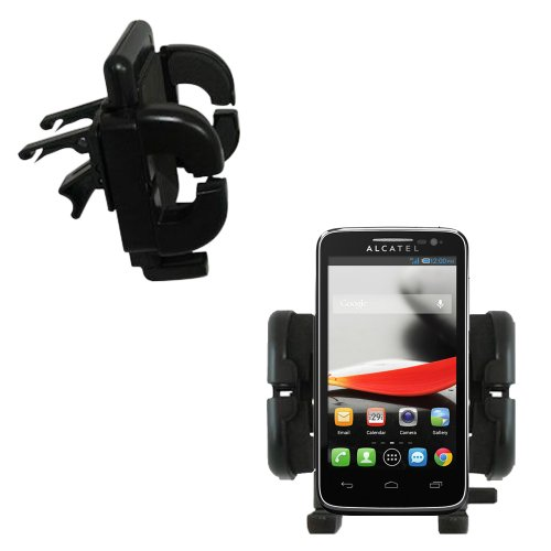 Innovative Vent Cradle Vehicle Mount designed for the Alcatel One Touch Fierce - Adjustable Vent Clip Holder for Most Car / Auto Vent Systems