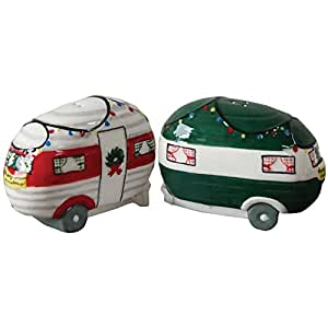 Decorative Retro Happy Campers Christmas Holiday Salt And Pepper Shakers Set