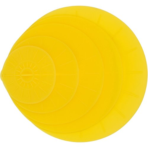 """Yellow Silicone Lid Covers Set - 5 Reusable Flat Covers For Food, Bowls, Pans, Cups, Pots And More – Includes large almost 14"""" 
