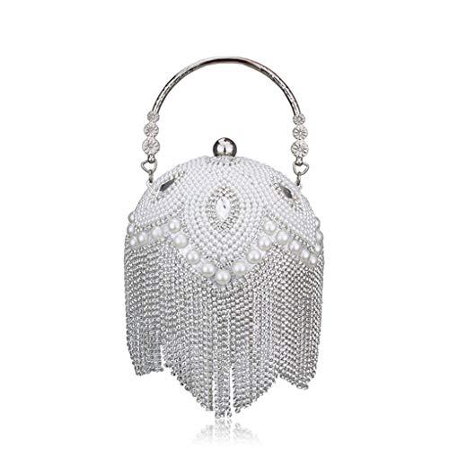 Jancerkmou Tassel Women Pearl Beaded Crystal Party Evening Bag Bridal Wedding Round Ball Wrist Bag Clutch Purse White