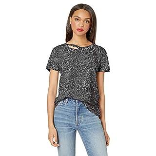 n:PHILANTHROPY Women's Harlow Round Neck Short Sleeve Distressed T Shirt, Black Cheetah Zander, Extra Small