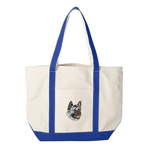 d Embroidered Canvas Tote Bags - Royal Blue - Akita ()