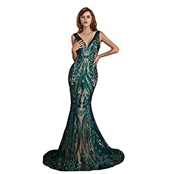 Style D (Hunter) Long Sequin Mermaid Dress Sleeveless