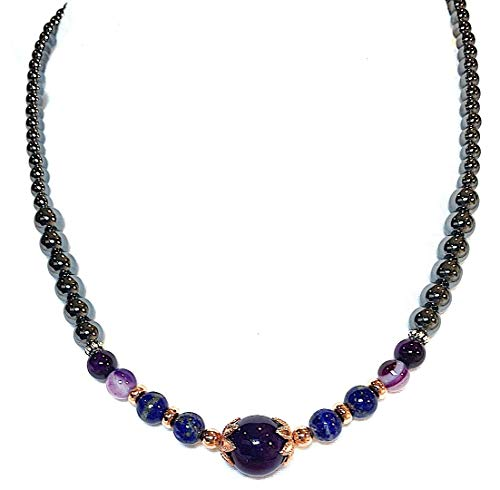 Handmade Amethyst, Lapis Lazuli, Purple Banded Agate and HematiteStretch Healing Necklace 17 inches