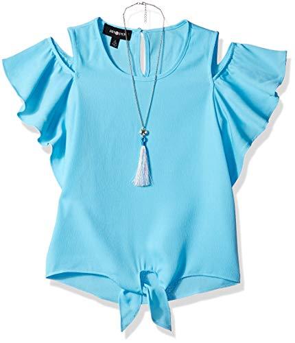 Amy Byer Girls' Big Flutter Sleeve Cold Shoulder Top with Necklace, Fiji Blue Medium