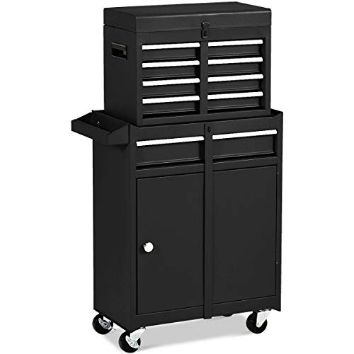 Black 2 in 1 Tool Chest & Cabinet with Sliding Drawers Rolling Garage Organizer Office Warehouse(U.S. Stock)