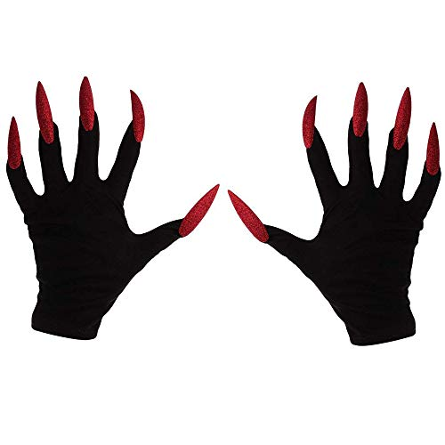 BRZSACR Halloween Ghost Festival Costume Accessories Red Ghost Nail Gloves Halloween Gloves Party Decoration Gloves (Black) -