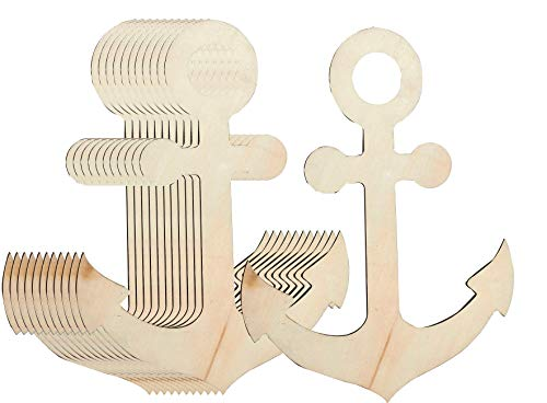 Unfinished Wood Cutout - 12-Pack Anchor Shaped Wood Pieces for Wooden Craft DIY Projects, Art Class, Pirate Mermaid Ocean Sea Themed Party, Home Decoration, Embellishment, 11.625 x 8.8 x 0.19 Inches - Unfinished Small Wood