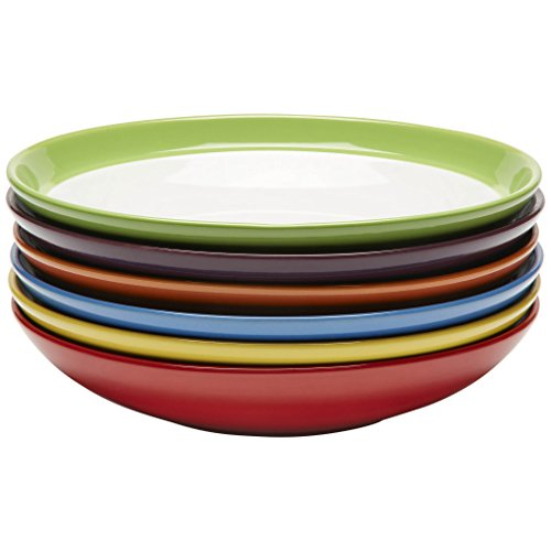 Amethya Premium Ceramic Set of 6, Colorful Meal Stoneware (Pasta and Salad Bowls) - Fine China Coupe Soup Bowl