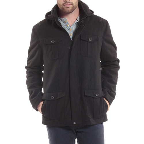 Alpine Swiss Noah Mens 8 Cargo Military Pocket Zip-Out Hood Coat Black Large