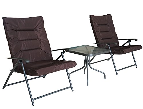 Cheap Kozyard Elsa 3 Pieces Outdoor Patio Furniture Padded Folding Sets for Yard, Patio, Deck or Backyard(Dark Brown)