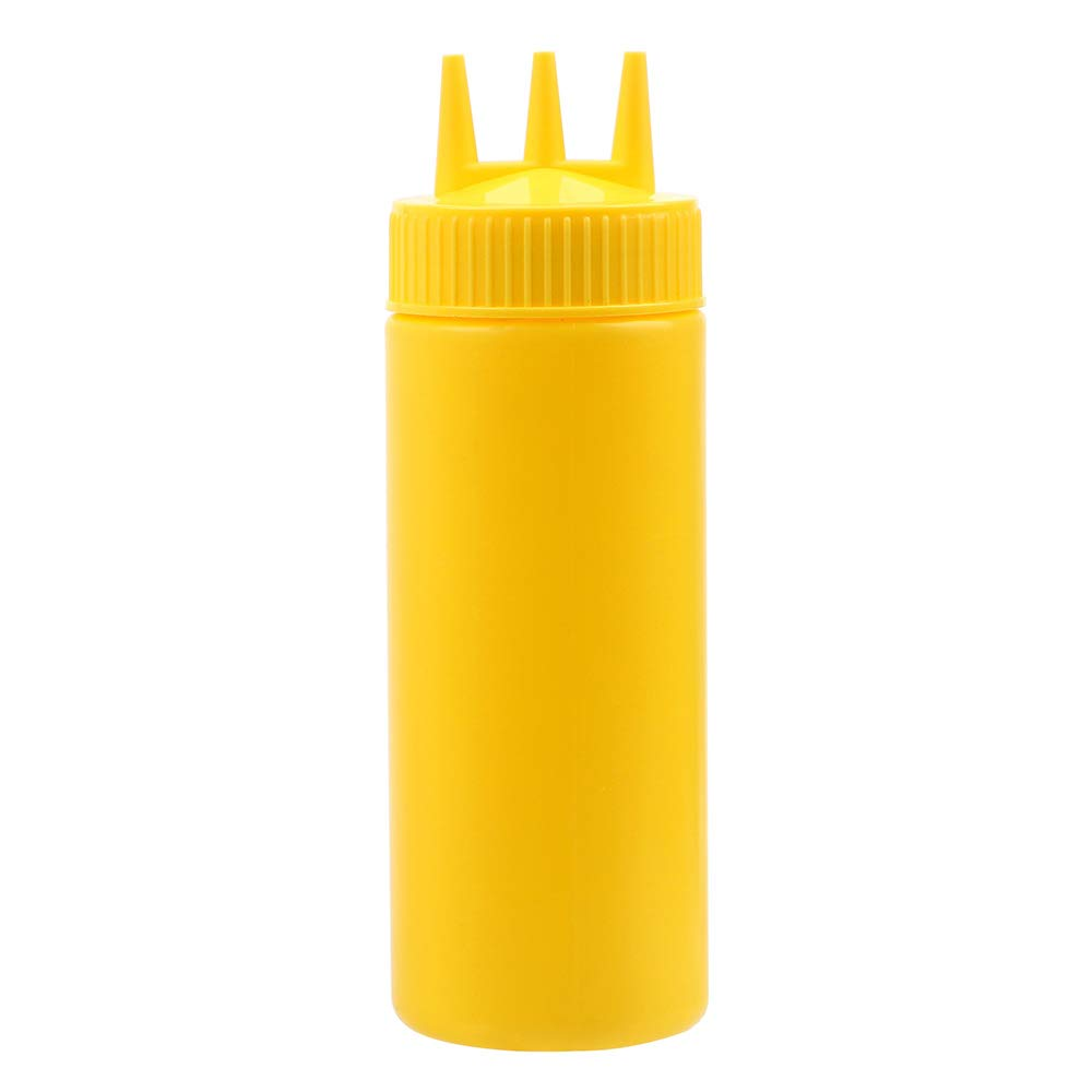 Plastic 3 Hole Squeeze Bottle for Mustard Jam Ketchup Oil Vinegar Pots Yellow 12oz Holdream
