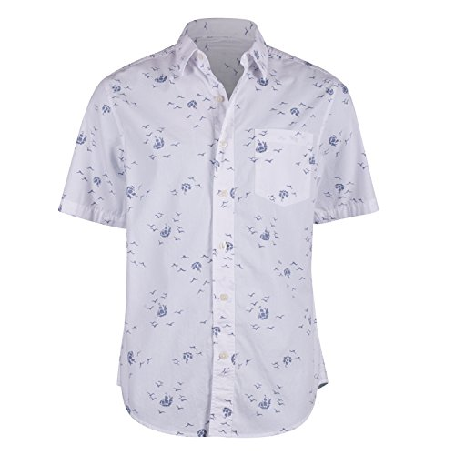 Campia Moda Men's Washed Cotton Modern Fit Print Shirt (White Abstract Bird and Ship Print, XL)