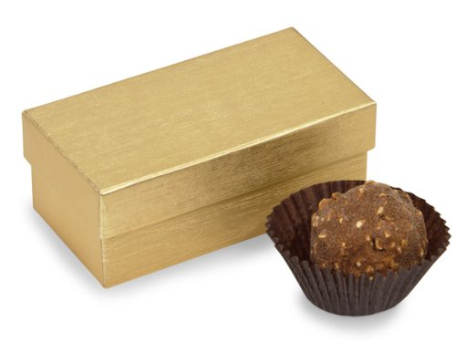 Gold Truffle Box - Set Of 24, Double Truffle Boxes Gold Embossed 3.25 X 1.5 X 1.25