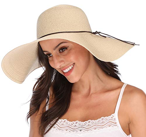 Lanzom Womens Big Bowknot Straw Hat Floppy Foldable Roll up Beach Cap Sun Hat UPF 50+ (X-Beige)