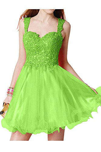 Spitze Festlichkleider Traeger La Abschlussballkleider Mini Tanzenkleider mia Partykleider Zwei Grün Cocktailkleider Brau Promkleider fngqI