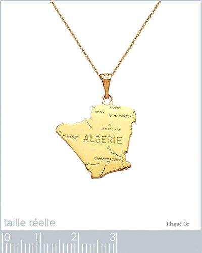 Lot Pendentif carte Algérie Plaqué Or 18 carats + Chaîne 50cm Plaqué Or