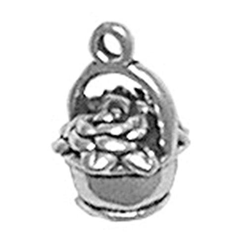 (925 Sterling Silver Sweet Basket Of Flowers Charm For)