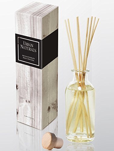Urban Naturals Lavender Sandalwood Essential Oil Reed Diffuser Set with Natural Bamboo Reeds Sticks | Aromatic Lavender, Golden Amber & Woods | Vegan. Made in The USA - incensecentral.us
