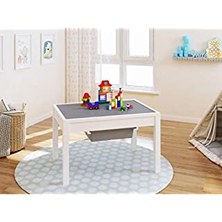 UTEX Kids 2 in 1 Large Activity Table with Storage, Construction Table for Kids,Boys,Girls, White