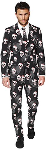 [OppoSuits Men's Skulleton Party Costume Suit, Multi, 42] (Cleveland Costumes)
