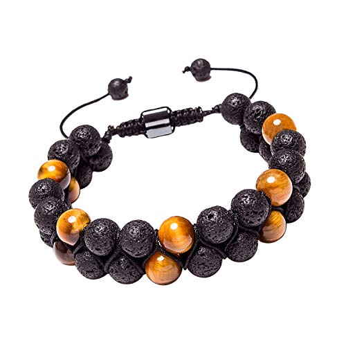 Leefi Mens Tiger Eye Lava Rock Double Natural Stone Healing Bead Bracelet Essential Oil Diffuser Bracelet Adjustable(Lava Rock,Tiger Eye,2 Beads)