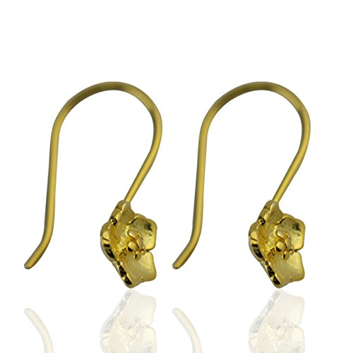 925 sterling silver hook earring wire french wire components DIY wedding gift for bride (14kt gold (Gold Plated French Wire Settings)