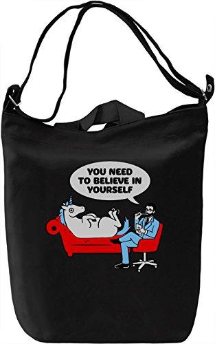 Unicorn Therapist Borsa Giornaliera Canvas Canvas Day Bag| 100% Premium Cotton Canvas| DTG Printing|