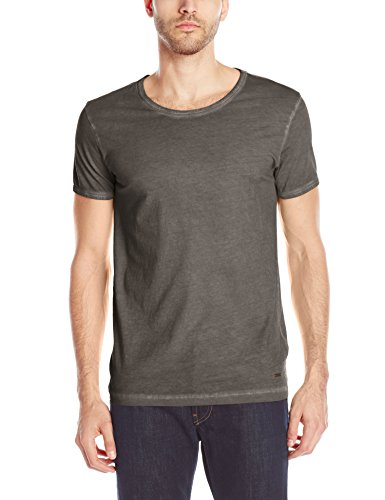 BOSS Orange Men's Tour Garment Dyed Crew Neck T-Shirt,  Black,  Large