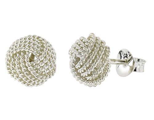 Infinity Knot Round Love Sterling Silver Stud Earrings (Silver) - Tiffany Knot Ring