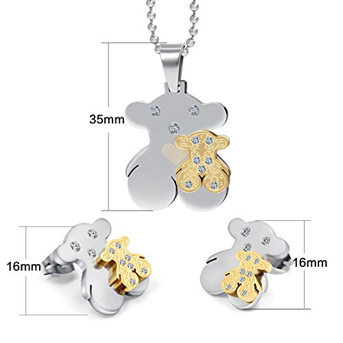 AnaZoz Jewelry fashion teddy tou bear sets for women stainless steel