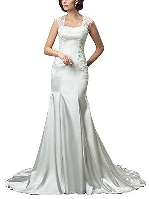 M Bridal Women's Lace Appliques Cap Sleeve Strapless Long Mermaid Wedding Dress